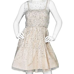 Alice+Olivia Gold/silver Beaded Cocktail Dress Sz4